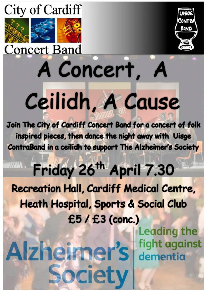 A joint concert and ceilidh with the City of Cardiff Concert Band in aid of the Alzheimer's Society