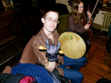 Baron rocking out on a Bodhran